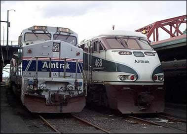 Old and new Amtrak trains